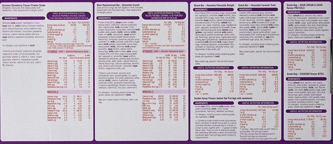 SlimFast 7 데이 킥-스타트 팩 Nutritional Information 1