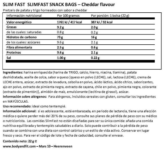 Pack de inicio de 7 días de SlimFast Nutritional Information 1