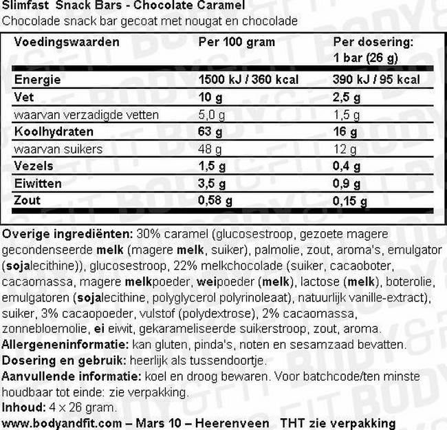 SlimFast 7 Day Kick Start Pack Nutritional Information 2