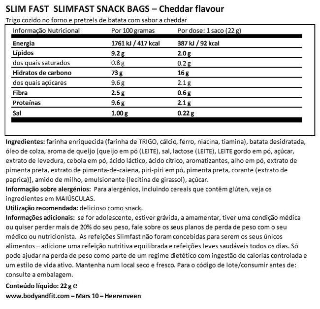 Pacote de arranque de sete dias SlimFast Nutritional Information 1