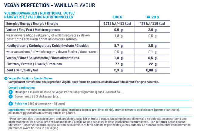 Vegan Perfection - Special Series Nutritional Information 2