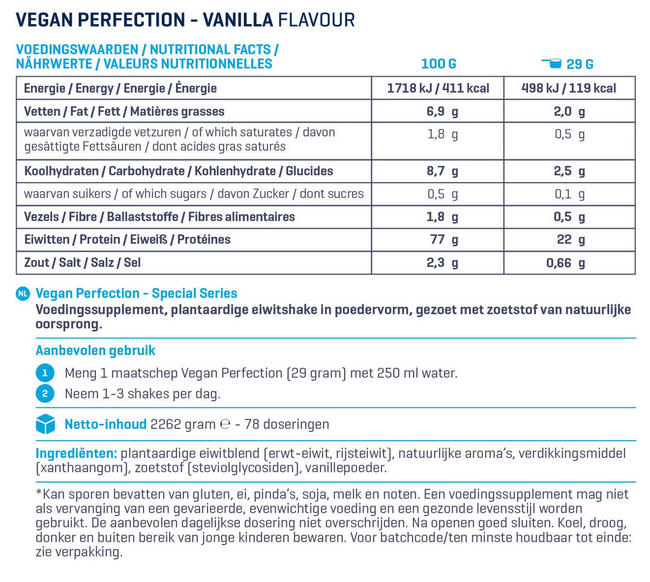 Vegan Perfection - Special Series Nutritional Information 1