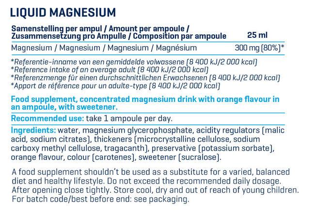Liquid Magnesium Nutritional Information 1