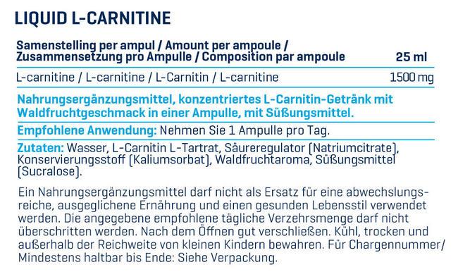 Liquid L-Carnitine Nutritional Information 1