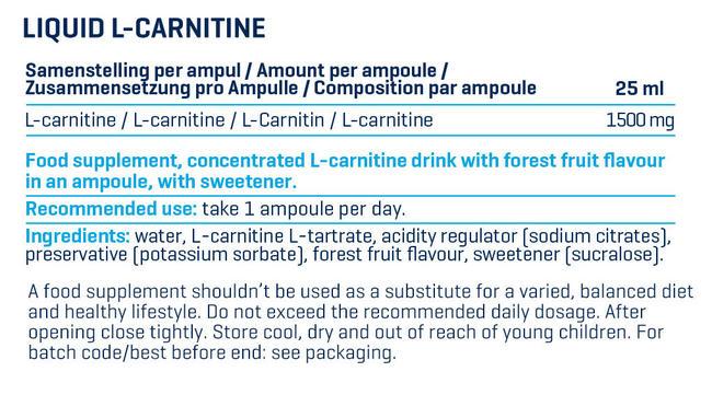 リキッド L-カルニチン Nutritional Information 1