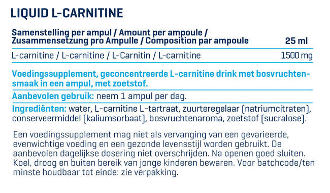 Liquid L-Carnitine Nutritional Information 1