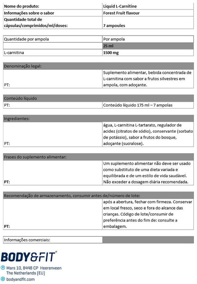 L-carnitina líquida Nutritional Information 1