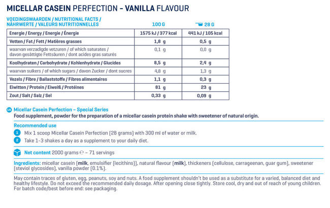 Micellar Casein Perfection Special Series Nutritional Information 1