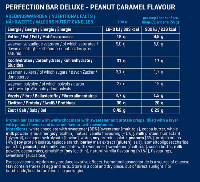 Perfection Bar Deluxe Nutritional Information 2