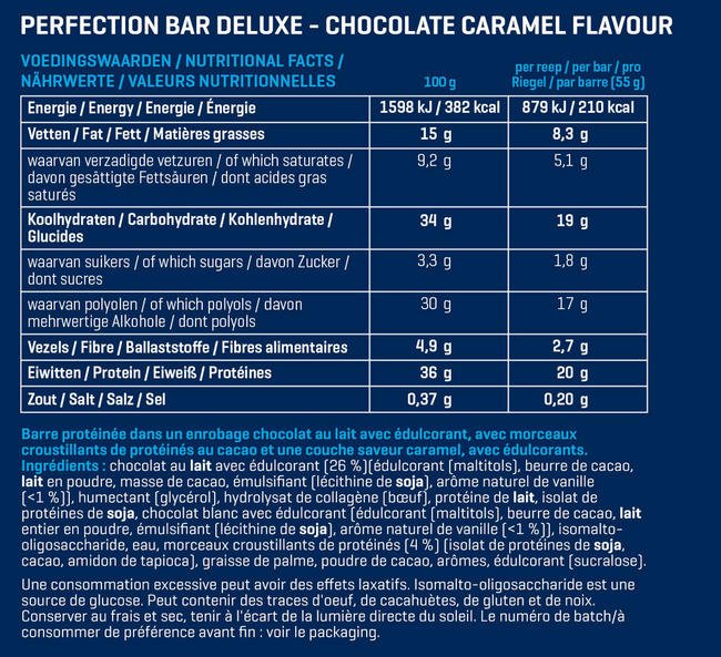 Perfection Bar Deluxe Nutritional Information 1