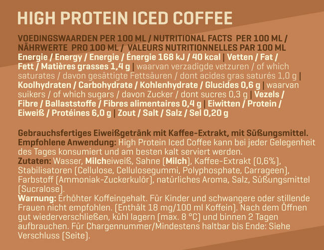 High Protein Iced Coffee Nutritional Information 1