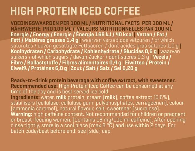 ハイプロテインアイスドコーヒー Nutritional Information 1