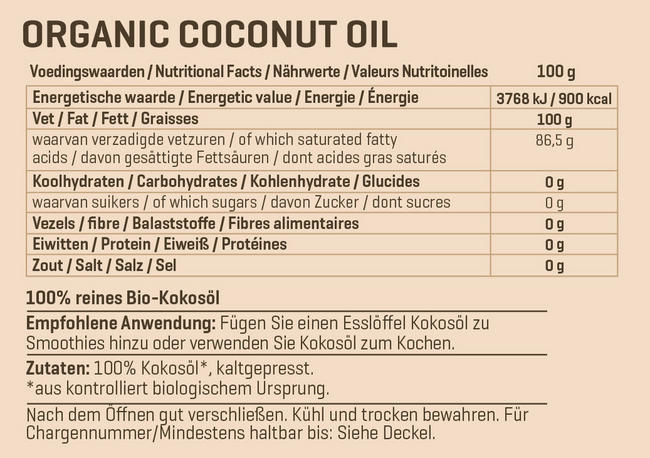 Biologisches Kokosöl extra virgin Nutritional Information 1