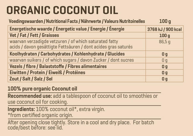 Organic Coconut Oil extra Virgin Nutritional Information 1