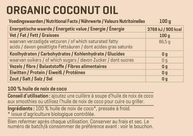 Huile de coco biologique extra vierge Nutritional Information 1