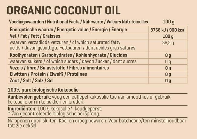 Biologische Kokosolie extra virgin Nutritional Information 1