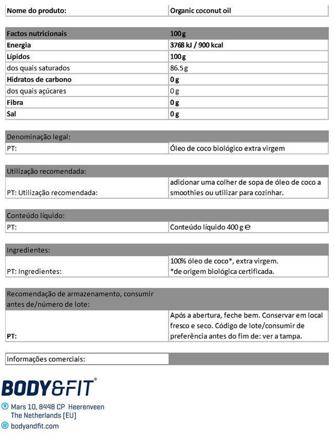 Óleo de coco biológico  Nutritional Information 1