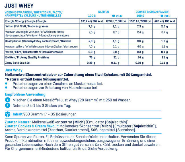 Just Whey Nutritional Information 1