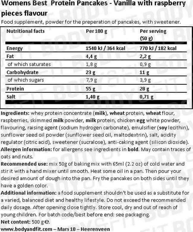 プロテインパンケーキ Nutritional Information 1