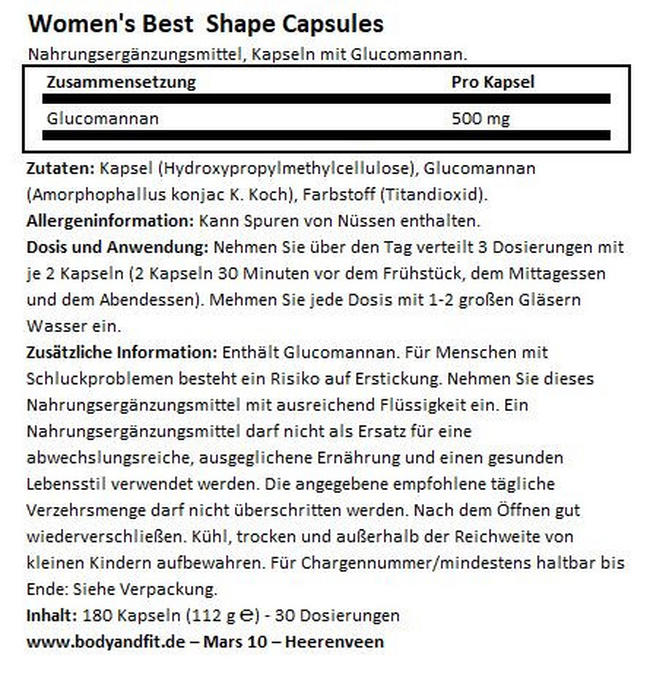 Shape Capsules Nutritional Information 1