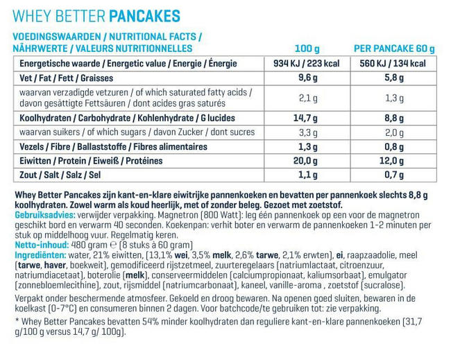 Whey Better Pancakes Nutritional Information 1