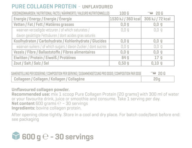 Pure Collagen Protein Nutritional Information 1