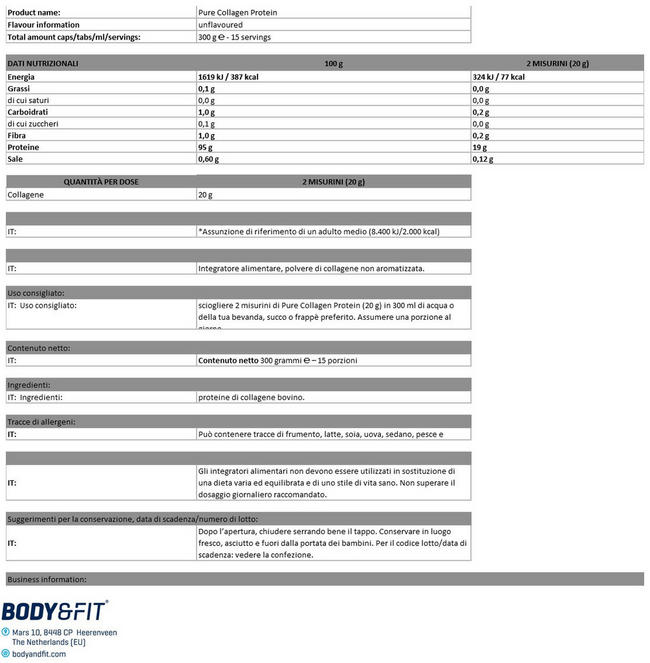 Pure Protein Collagene Nutritional Information 1