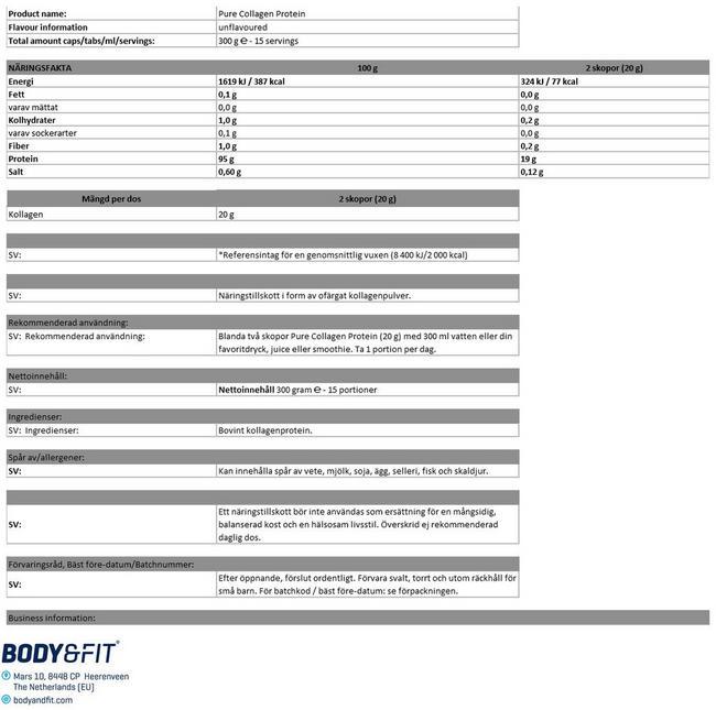 Pure Collagen Protein Nutritional Information 1