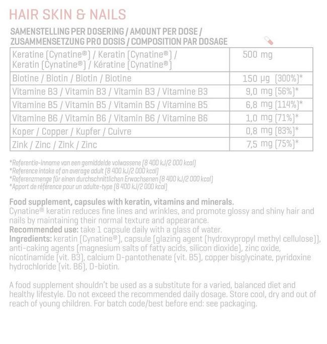 ヘア、スキン アンドネイル Nutritional Information 1