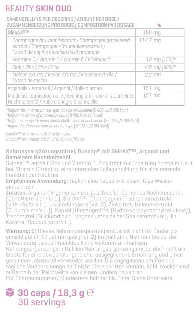 Beauty Skin Duo Nutritional Information 1