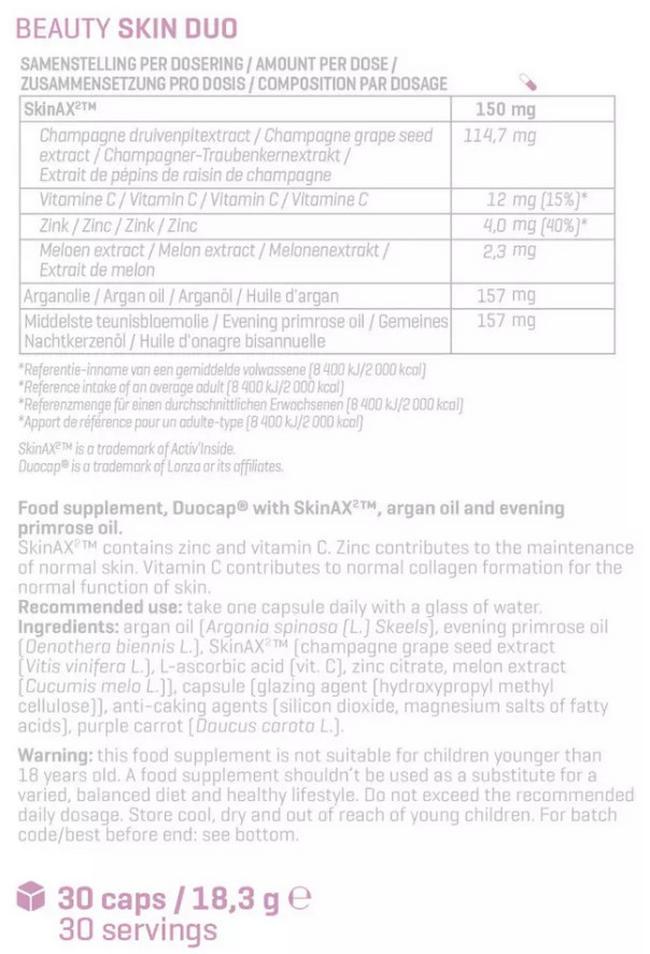 Beauty Skin Duo  Nutritional Information 1