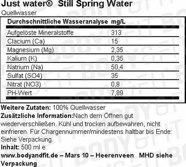Just Water Nutritional Information 1