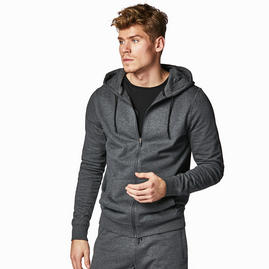 Sudadera con capucha y cremallera gris para hombre