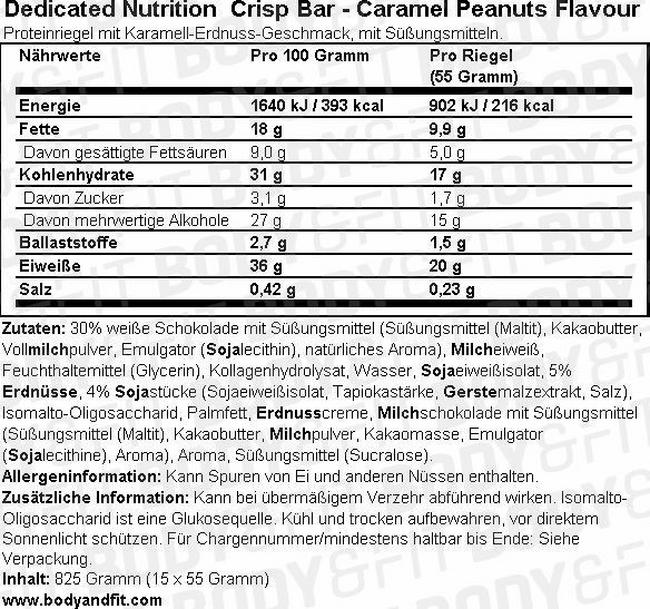 Dedicated Crisp Bar Nutritional Information 1