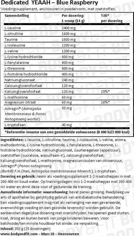 YEEAH Amino Nutritional Information 1