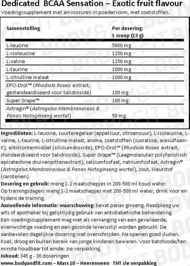 BCAA Sensation Nutritional Information 1