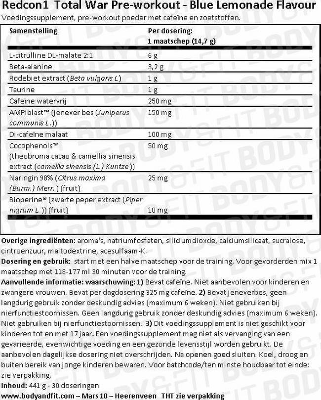 Total War Nutritional Information 1