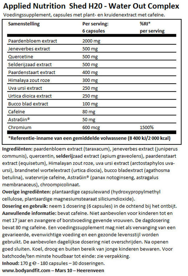 SHED H2O Water Out Complex Nutritional Information 1