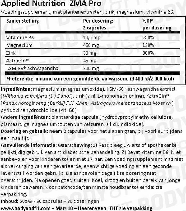 ZMA Pro Nutritional Information 1