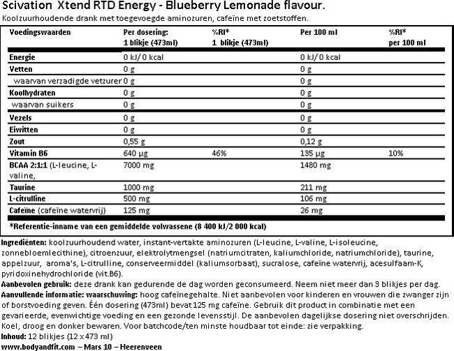 XTEND RTD + Energy Nutritional Information 1