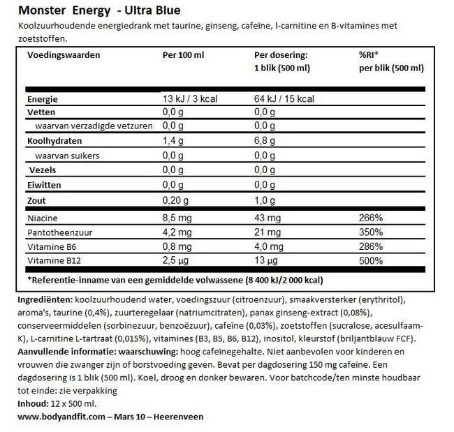 Monster Energy Ultra Nutritional Information 1