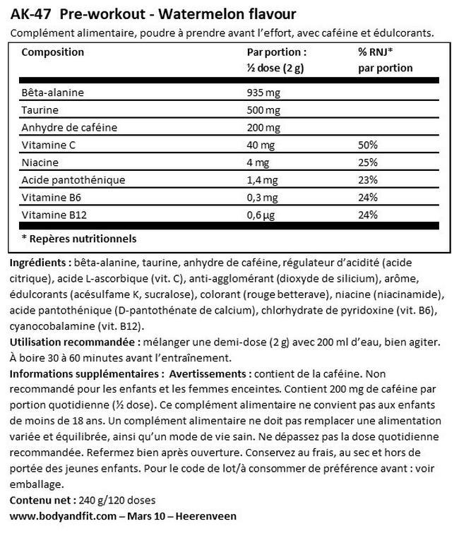 Pré-workoutAK-47 Nutritional Information 1