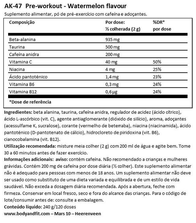 AK-47 Pre-workout Nutritional Information 1