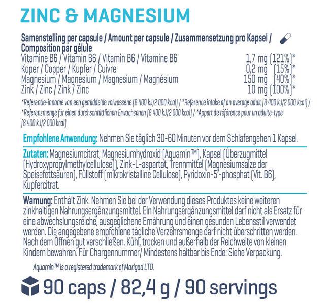 Zink & Magnesium Nutritional Information 1