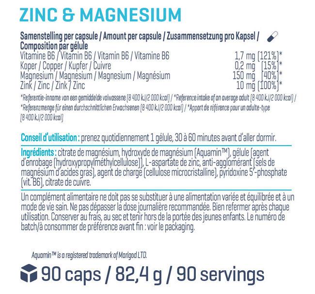 Zinc & Magnesium Nutritional Information 1