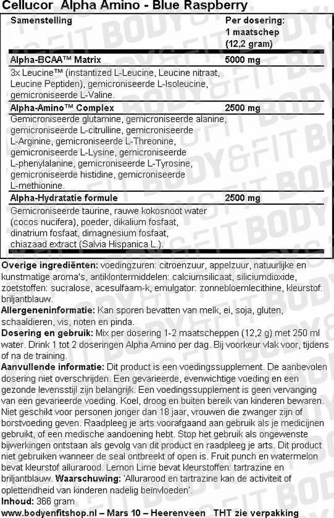 Alpha Amino Nutritional Information 1
