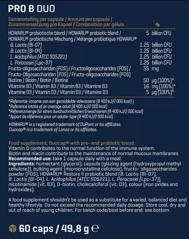 프로 B 듀오 (프로+프리바이오틱) Nutritional Information 1