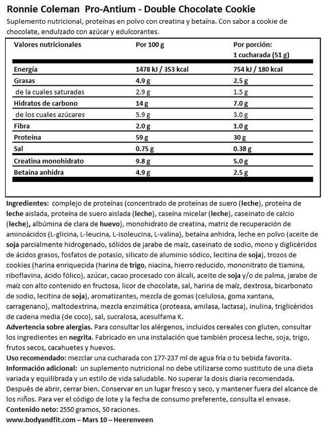 Pro-Antium Nutritional Information 1