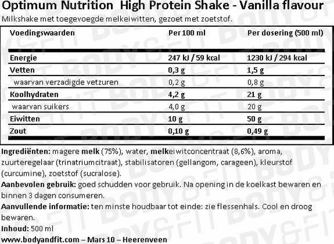 Optimum Protein Shake Nutritional Information 1