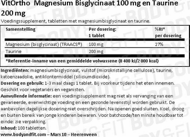 Magnesium Bisglycinate 100 mg and Taurine 200 mg Nutritional Information 1